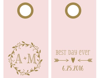 Custom Wedding Vinyl Decal Set for Cornhole | Best Day Ever Wedding | Corn Hole Decals for Wedding | Outdoor Wedding Decor
