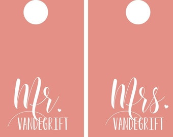 Personalized Mr and Mrs Wedding Decal Set for Cornhole Boards