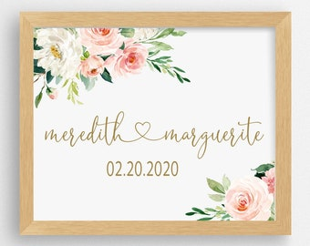 Personalized Name Floral Pink & Gold Watercolor Art Print | Baby Girl Nursery Wall Art