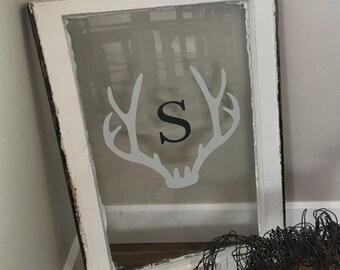 Antler Framed Monogram Wall Decal