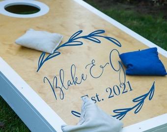 Rustic Wedding Cornhole Decals | Cornhole Board Decals | Personalized Wedding Decals | Beach Wedding