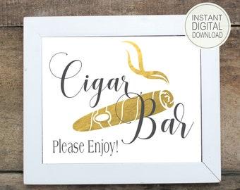 Cigar Bar Sign | DIY PRINTABLE | Wedding Cigar Bar | Instant Download