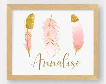 Pink and Gold Feathers Art Print   Personalized Boho Nursery Print   She is Fierce Nursery Decor
