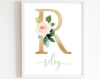 Watercolor Floral Initial Letter Art Print | Pink & Gold Floral Personalized Monogram | Nursery Wall Decor