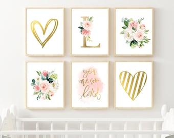 Nursery Art Prints, Watercolor Floral Blush, Elegant Nursery Art, Nursery Wall Art Set, Girl Nursery Decor, Pale Pink Monogram Art 16x20