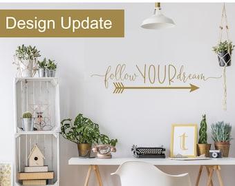 follow your arrow decal | follow your heart wall decor | follow your dreams wall art | Gold Office Decor | Gold Nursery Wall Decor