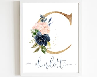 Watercolor Floral Initial Letter Art Print | Blush & Navy Floral Personalized Monogram | Nursery Wall Decor | Size 11x14, 16x20