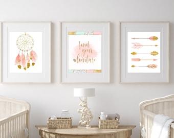 Pink and Gold Boho Nursery Wall Art Print Set   Dreamcatcher Art Print   Feather Arrow Nursery Wall Art   Boho Quote for Nursery Print