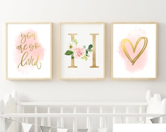 You are so Loved Floral Monogram Nusery Set of 3 | DIY Digital Print | Nursery Wall Decor | Sizes 8x10, 11x14, 16x20