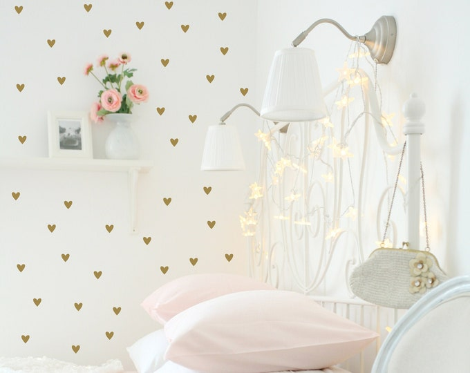 Featured listing image: Heart Wall Decals | Gold Heart Decals | Peel & Stick Wall Decals | Nursery Decor