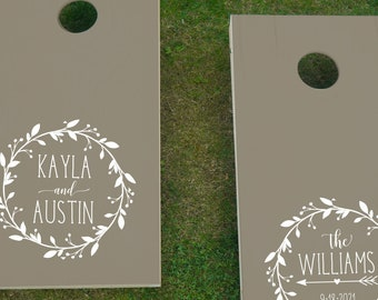 Wedding Cornhole Vinyl Decal Set | Personalized Bride and Groom Custom Cornhole Decals for Wedding