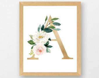 Watercolor Floral Monogram Art Print | Pink & Gold Floral Letter | Nursery Wall Decor