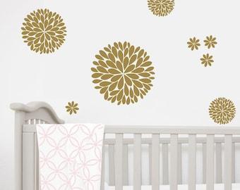Dahlia Flower Wall Decals | Baby Girl Nursery | Another Bunch of Dahlia Flowers | Vinyl Wall Decal