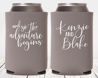 and so the adventure begins Wedding Can Coolers | Wedding Can Coolies | Personalized Wedding Favors