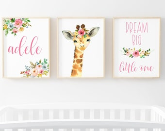 Baby Giraffe Safari Animal Nursery Art Print Set | Watercolor Floral Giraffe Print | Baby Name | Dream Big Little One Floral Art Print