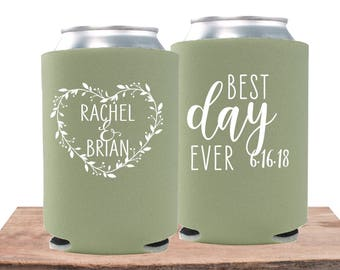 Rustic Wedding Favors | Wedding Can Coolers | Best Day Ever | Wedding Can Coolies | Personalized Wedding Favors | FREE Shipping