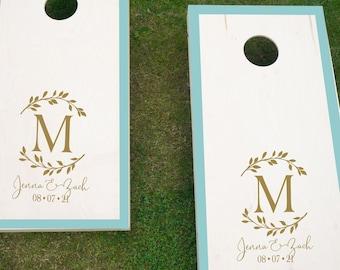 Rustic Wedding Cornhole Decals | Laurel Leaf Wedding Decals | Personalized Wedding Decals | Barn Wedding