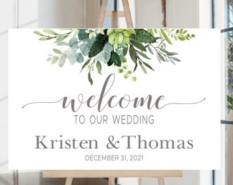 Wedding Welcome Sign Printable | Personalized Wedding Sign | Greenery Foliage | Quick Turnaround DIY Printable