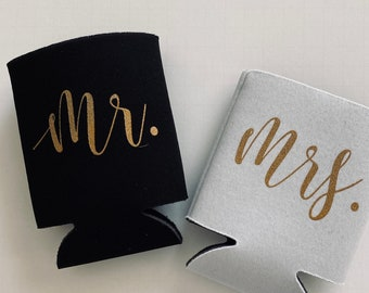 mr and mrs beer can holders | wedding can coolers | wedding photo props | wedding shower gift | FREE Shipping