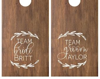 Personalized Team Bride Team Groom Cornhole Game Decal Set | DIY Wedding Decor | Wedding Gifts for Couple