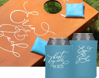 Personalized Wedding Can Coolers | Fancy Bride and Groom Can Coolers | Wedding Can Covers