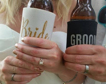 Bride and Groom Wedding Can Coolers | FREE Standard Shipping