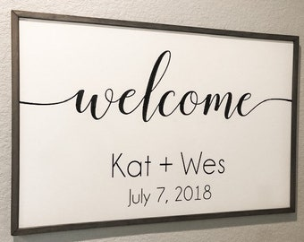Personalized Welcome Sign Vinyl Decal   DIY Wood Signs    Welcome to Our Wedding Sign Decal