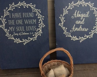 Song of Solomon | I Have Found the One Whom My Soul Loves | Personalized Rustic Wreath Vinyl Decal Set for Wedding Cornhole