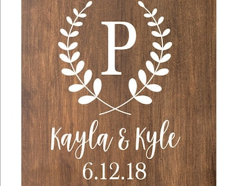 Wedding Sign Decal | Monogram Cornhole Decals | Set of Two Cornhole Board Game Decals | Wedding Corn Hole Decals | Custom Cornhole