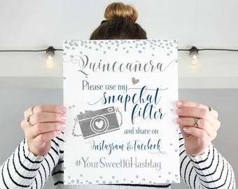 Sweet Sixteen Snapchat Filter | Quinceañera Party Sign | Personalized Sweet 16 Hashtag | Instagram Facebook Party Printable | DIY Print