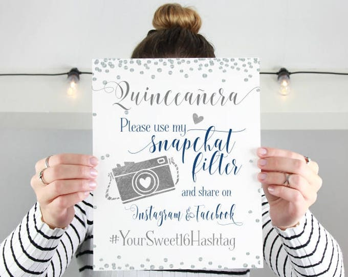Featured listing image: Sweet Sixteen Snapchat Filter | Quinceañera Party Sign | Personalized Sweet 16 Hashtag | Instagram Facebook Party Printable | DIY Print