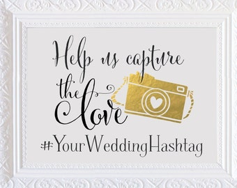 Help Us Capture the Love Instagram Wedding Sign | Personalized Wedding Hashtag PRINTABLE | Quick Turnaround DIY Print