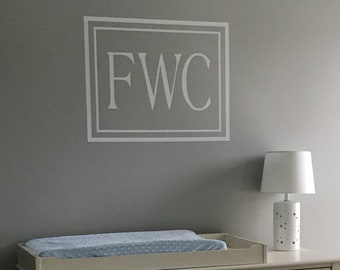 Baby Boy or Girl Crib Monogram Wall Decal for the Nursery