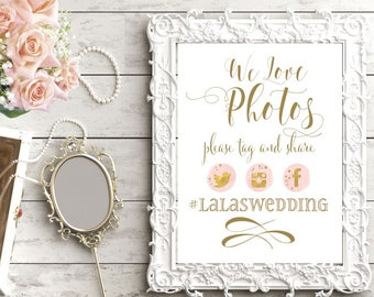 Snapchat Wedding Sign | Instagram Sign | Wedding Sign PRINTABLE | We Love Photos | Social Media Share for Wedding | Quick Turn DIY Print