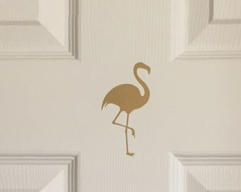 Flamingo Decor for Home | Gold Flamingo Decal | Flamingo Wall Decal Set | Flamingo Stickers | Pink Flamingo Vinyl Wall or Door Decal