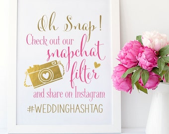 Snapchat Filter Wedding Sign | Instagram Wedding Sign | Wedding Sign PRINTABLE | Quick Turnaround DIY Print | Snap Chat Filter Wedding Sign