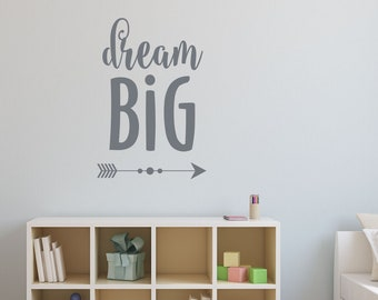 Dream Big Wall Decal | Nursery Decor for Boys | Playroom Wall Art