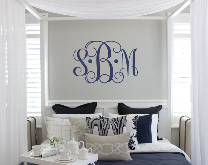 Featured listing image: Vine Monogram Decal | Large Monogram Wall Decal | Master Bedroom Wall Decal | Wedding Monogram | Newlywed Monogram Wall Decal