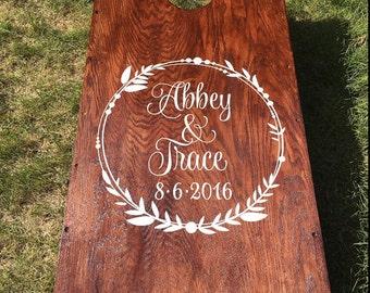 Wedding Cornhole Decals | Rustic Wedding Decor | Personalized Wedding Wreath | Decals for Corn hole Game