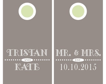 Wedding Cornhole Decals | Bride and Groom Gift | Mr and Mrs Wedding Decor | Personalized Cornhole