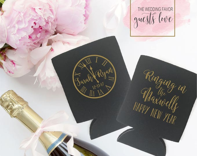 Featured listing image: New Years Eve Wedding Can Coolers   NYE Wedding Party Favor   Personalized  for Bride and Groom   Ringing in 2018   FREE Shipping