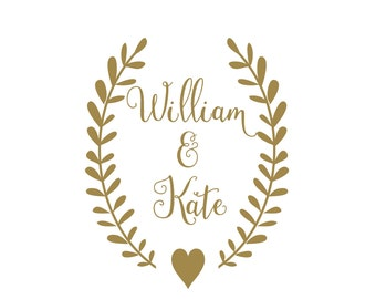 Personalized Rustic Wedding Vinyl Decal | Reception Venue Door Decal | Decal Set for Wedding Cornhole Set
