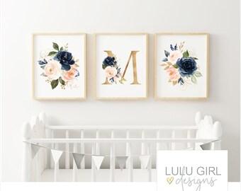 Blush & Navy Floral Nursery Art Print Set | DIY Digital Print | Floral Monogram Initial | Nursery Wall Decor | Sizes 8x10, 11x14, 16x20