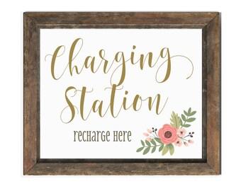 Charging Station Wedding Sign | Wedding Charging Bar Sign | Instant Download | DIY PRINTABLE