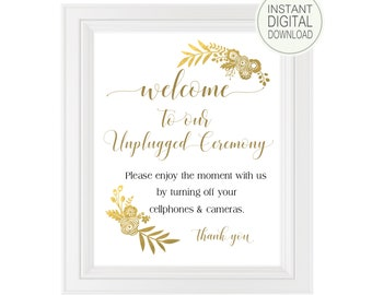 Unplugged Ceremony Sign | DIY PRINTABLE | Unplugged Wedding | Instant Download