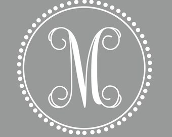 Preppy Monogram | Vine Font | Single Initial Decal | Nursery Decor | Dorm Decor | Sorority Decor