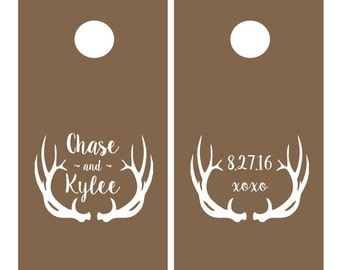 Cornhole Wedding Decal Set | Personalized Antler Design | Antler Wedding Decor