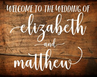 Wedding Welcome Sign Decal | DIY Wood Signs | Personalized Wedding Sign Vinyl Decals | Wedding Entrance Sign
