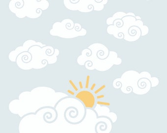 Cloud Decal | Nursery Wall Decal | Whimsy Clouds with Sun Wall Decal Package for Boys Room