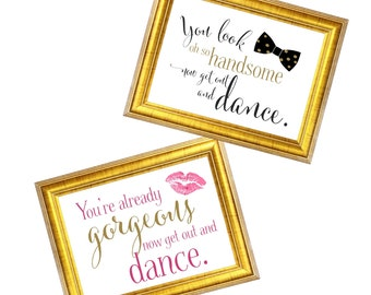 Get out and Dance Wedding Signs | Ladies and Men Wedding Restroom Door Signs | DIY PRINTABLE | Instant Download